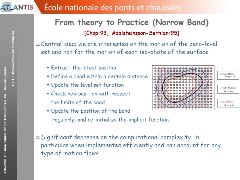 From theory to Practice (Narrow Band) [Chop:93, Adalsteinsson-Sethian:95]